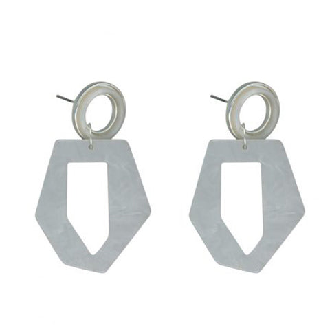 Octavie Stone Effect Resin Abstract Earrings | White