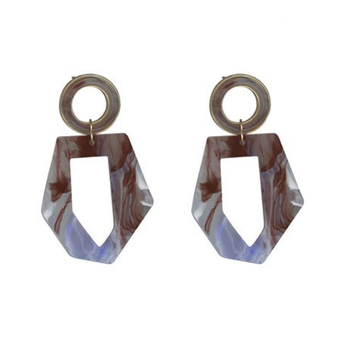 Octavie Stone Effect Resin Abstract Earrings | Lilac