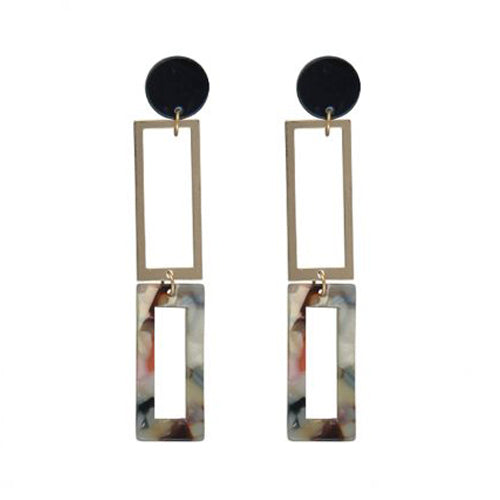 Aline Long Two Tone Metal Resin Earrings | Green Multi