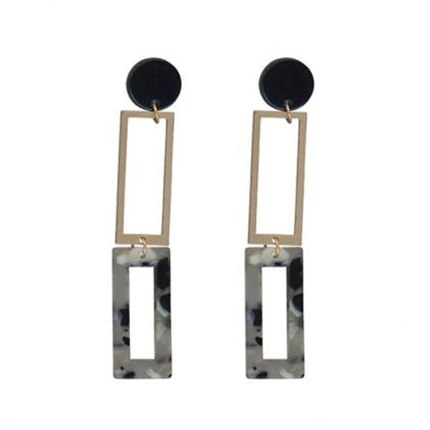 Aline Long Two Tone Metal Resin Earrings | Grey
