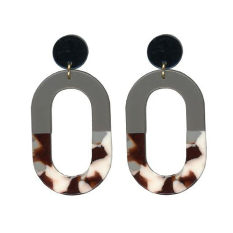Sandra Round Loop 2 Tone Resin Earrings | Red/White