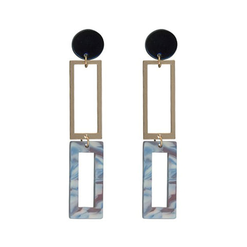 Aline Long Two Tone Metal Resin Earrings | Blue