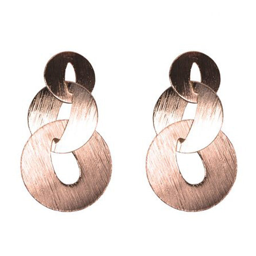 Myrtle Scratched Metal Link Earrings
