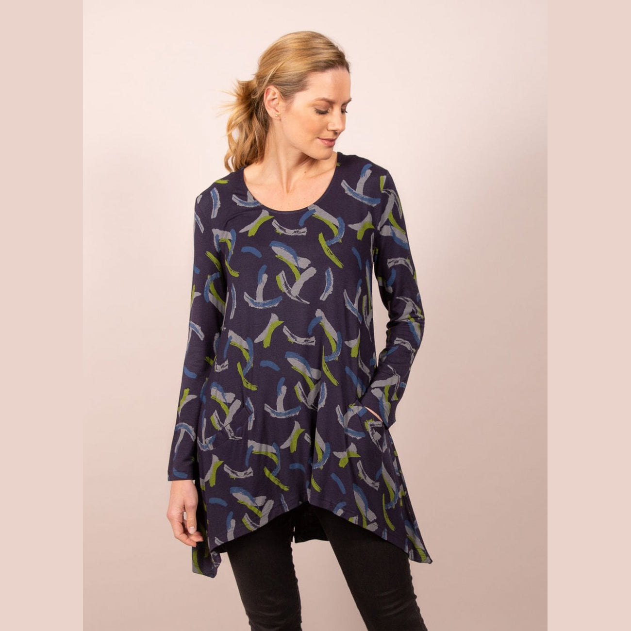 Brushstroke Print Tunic | BSK6000 | Apple