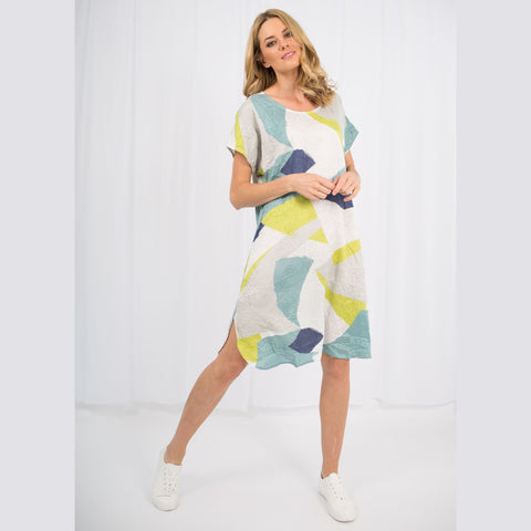 Ios Abstract Print Dress | Lime
