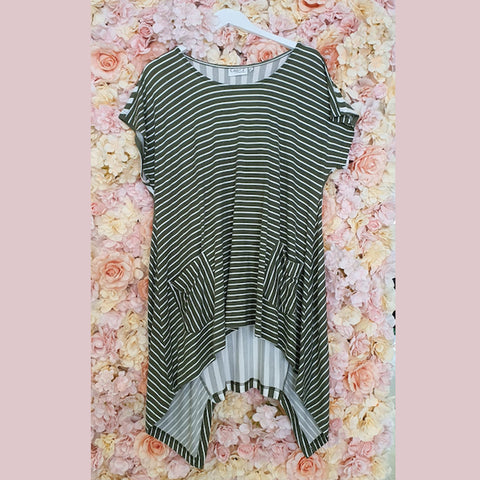 Mixed Stripe Tunic | Khaki