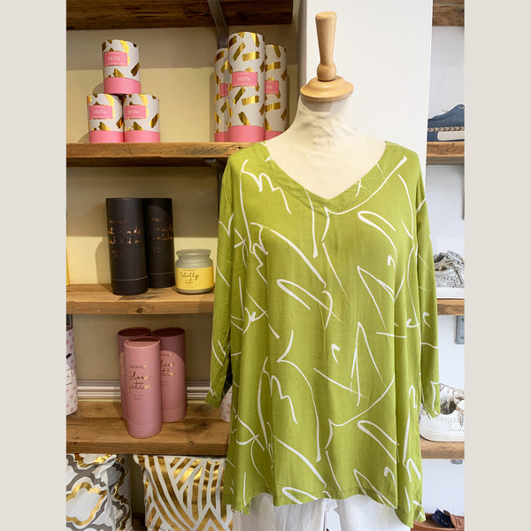 Brushstroke Print 3/4 Sleeve Top | Lime