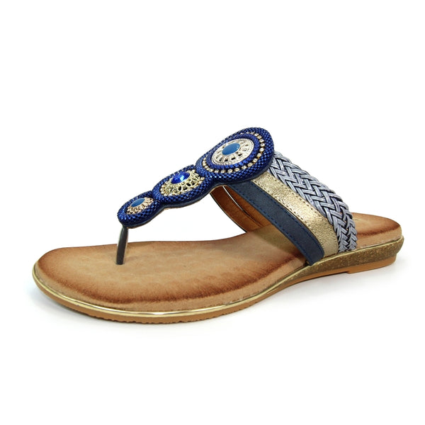 Carlotta Jewelled Toe Post Sandal | Blue