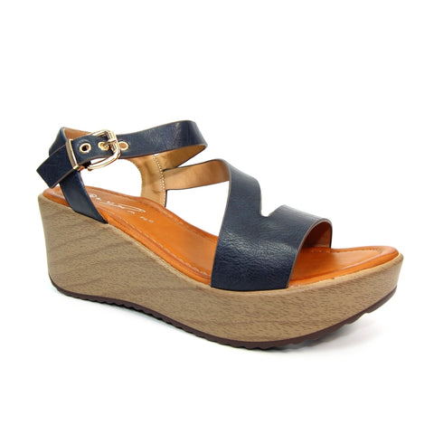 Cullen Strappy Wedge Sandal | Navy