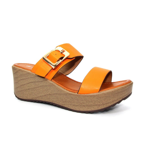 Fawn Wedged Mule Sandal | Orange