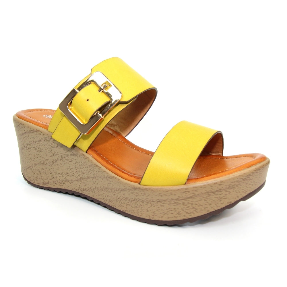 Fawn Wedged Mule Sandal | Yellow
