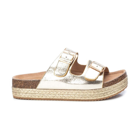Double Buckle Slider Sandal | 69926 | Gold