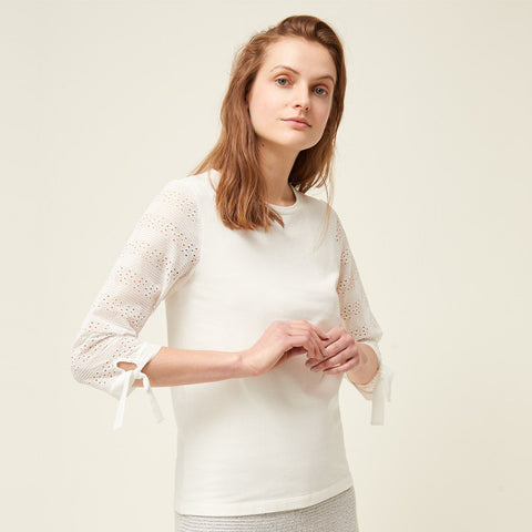 Monmarte Jersey Lace Sleeve Top | J7MAC | Milk