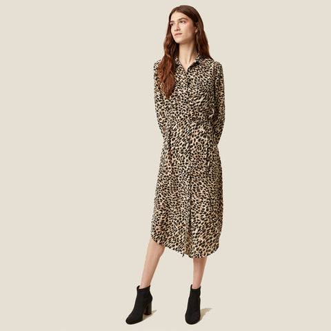 Cara Leopard Print Shirt Dress | J1MAD