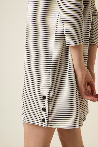 Orla Ottoman Stripe Long Sleeve Dress | J1MBF