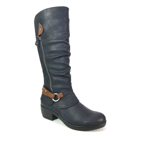 Lettie Long Boot | Navy