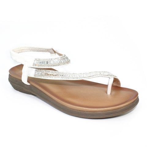 Lola Glitz Toe Loop Sandal | White