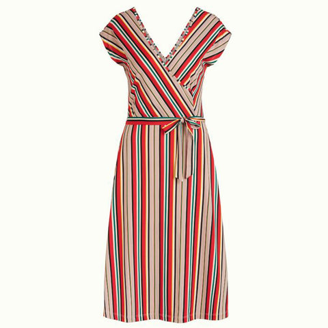 Mira Dress Lido Stripe | Chili Red