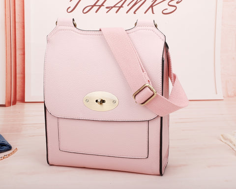 Large Cross Body Satchel Bag | Pale Pink