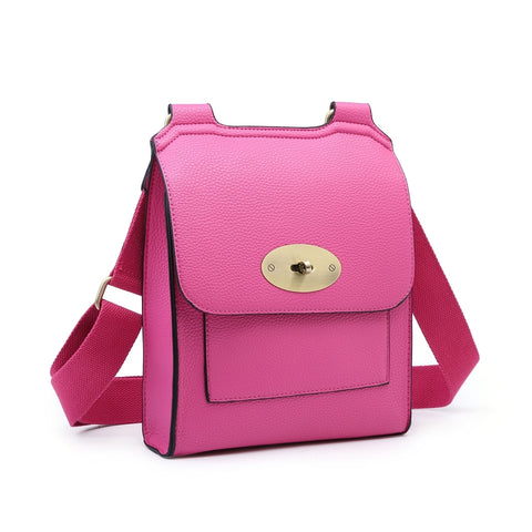 Large Cross Body Satchel Bag | Fuchsia