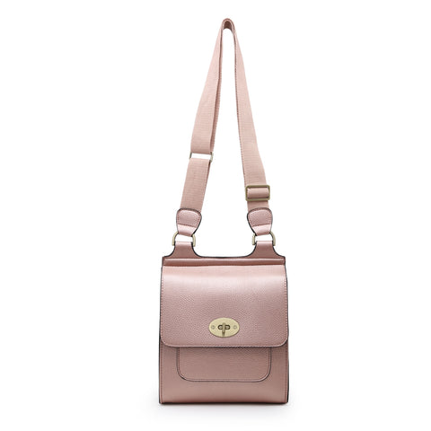 Medium Cross Body Satchel Bag | Rose Gold
