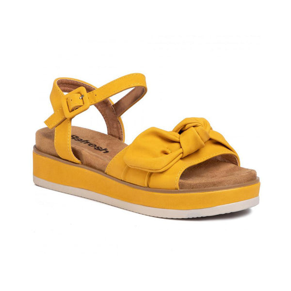 Platform Wedge Bow Sandals | Panama Yellow