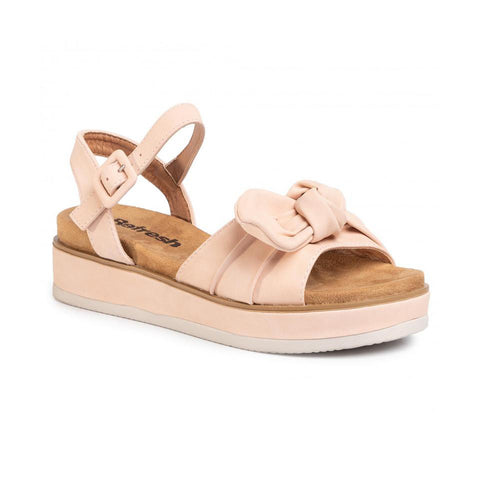 Platform Wedge Bow Sandals | Nude