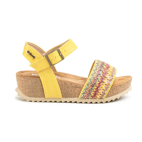 Colourful Wedge Sandals 69610 | Panama Yellow