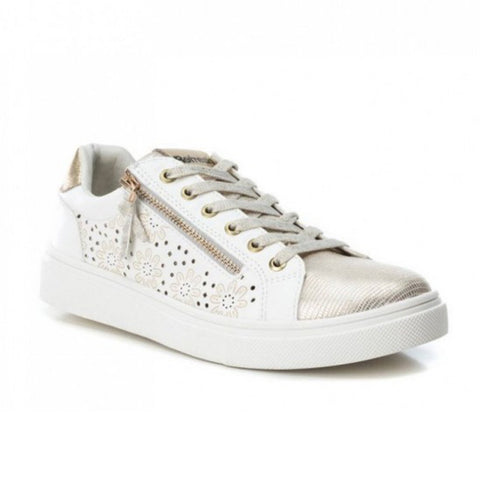Metallic Floral Trainers | 69953 | White/Gold