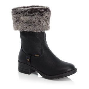 Faux Fur Lined Calf Boots | 96854-00 | Black