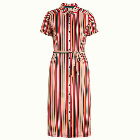 Rosie Slimfit Dress Lido Stripe | Chili Red
