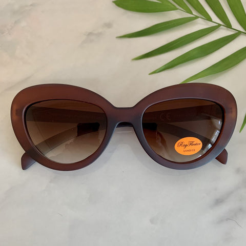 Vintage Inspired Cat Eye Sunglasses | Brown Matte