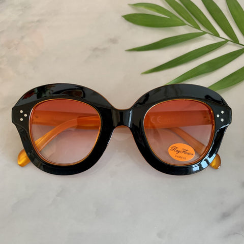 Retro Oversize Sunglasses | Black/Orange