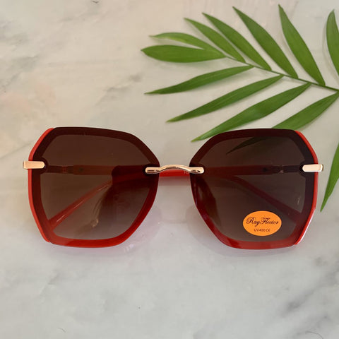 70s Style Oversized Sunglasses | Red