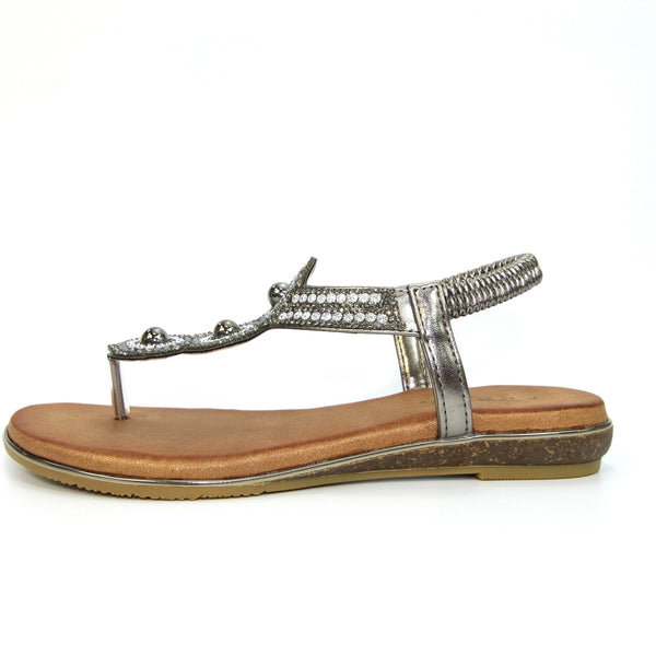 Silvia Toe Post Gem Sandal | Pewter