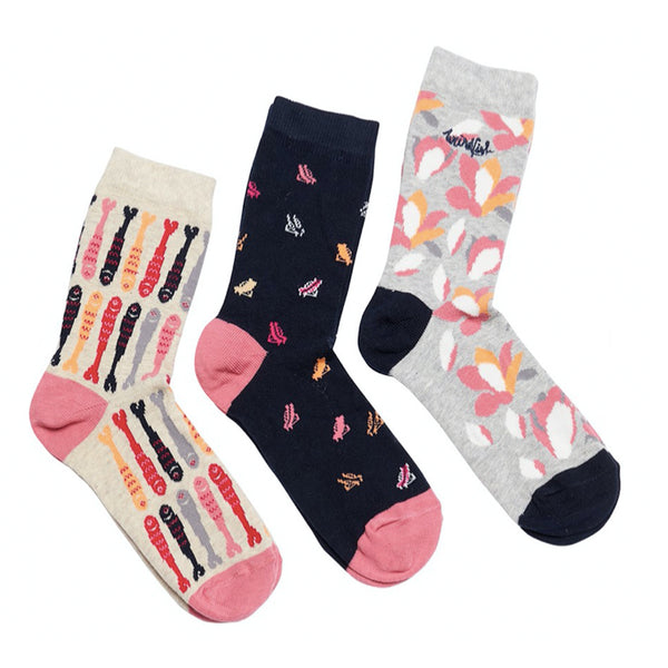 Parade Patterned Socks Triple Pack | Navy