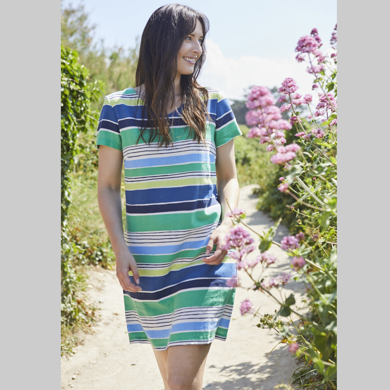 Linen Stripe Shift Dress | Blue/Green