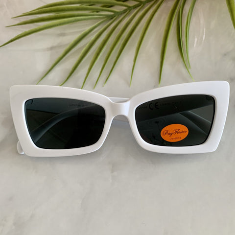 Retro Cat Eye Sunglasses | White