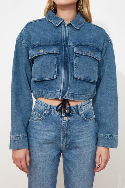 Dark Blue Puffer Style Denim Jacket