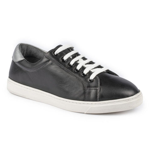 Veneto Leather Lace Up Trainer | Black