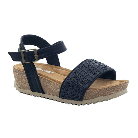 Woven Wedge Sandals 69610 | Black