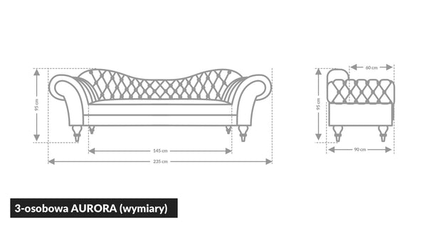 Sofa Chesterfield AURORA (3-osobowa)