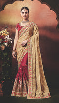 Partywear Georgette Saree in Maroon and Fawn Color PAWDSS4170NK