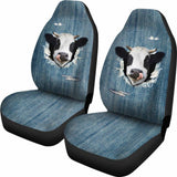 3D Cow Fake Jean-2 Car Seat Covers 144730 - YourCarButBetter