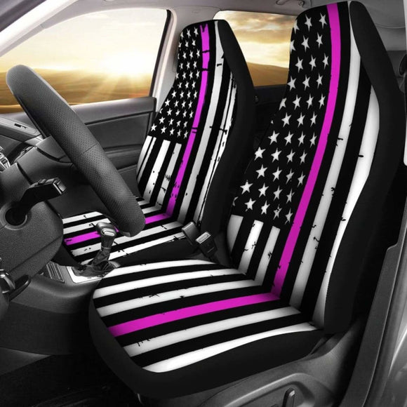 American Flag Car Seat Covers Pink Stripe (Set of 2) 203011 - YourCarButBetter