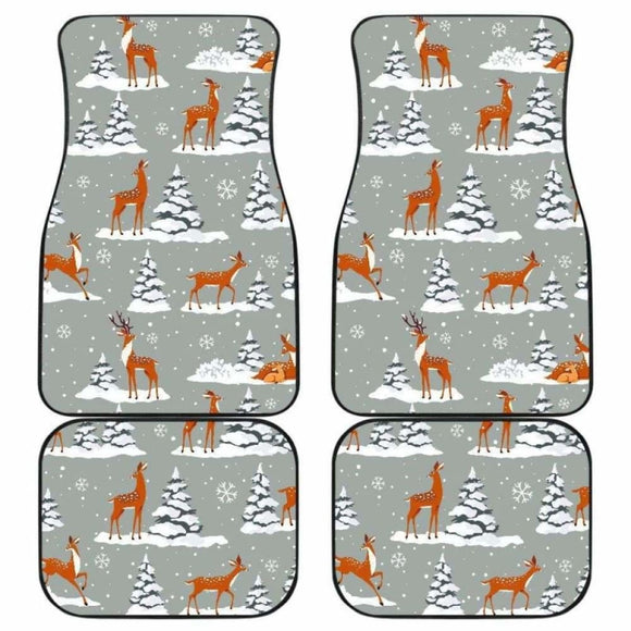 Beautiful Deers Winter Christmas Front And Back Car Mats 161012 - YourCarButBetter