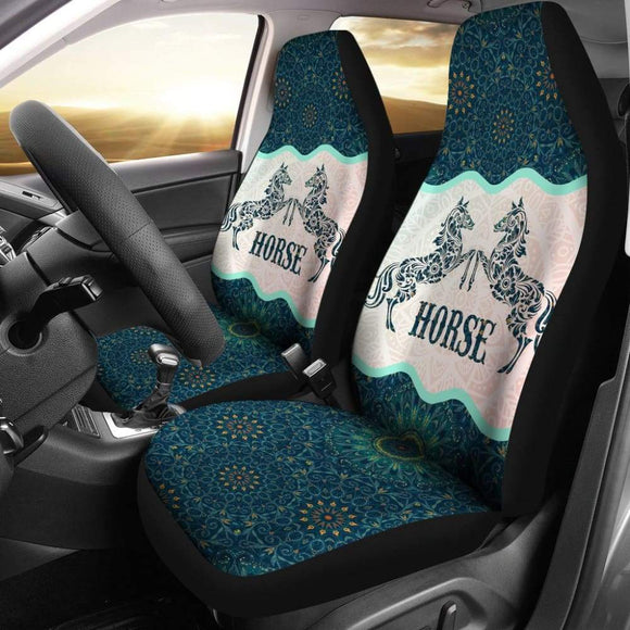 Beautiful Horse Vintage Mandala Car Seat Covers 210303 - YourCarButBetter