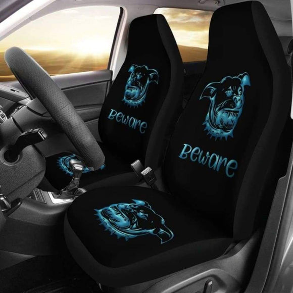 Beware Of Pitbull Car Seat Cover 113510 - YourCarButBetter