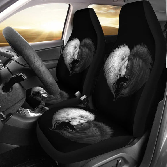 Black & White Lion Art Car Seat Covers Amazing Gift Ideas 211202 - YourCarButBetter