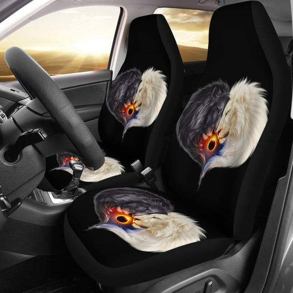 Black & White Lion Sun and Moon Car Seat Covers Amazing Gift Ideas 211202 - YourCarButBetter